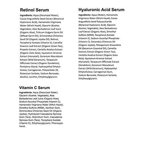 Anti Aging Serum 3-Pack for Face - Vitamin C Serum, Retinol Serum, Hyaluronic Acid Serum - Face Serum Full Regimen 7