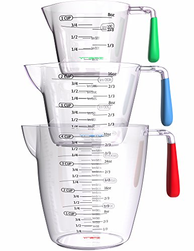 Vremi 3 Piece Plastic Measuring Cups Set - BPA Free Liquid Nesting Stackable Measuring Cups with Spout and Decorative Red Blue and Green Handles - includes 1, 2 and 4 Cup with Ml and Oz Measurement