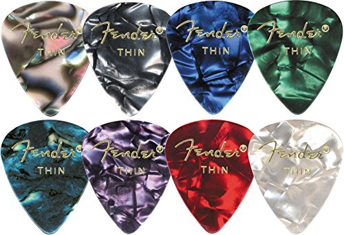 Fender 351 Shape Premium Celluloid Picks - Medium Blue Moto 12-pack