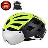 KINGBIKE DOT Bicycle Helmet Detachable Eye Shield Goggles(100% UV400 Protection,Can Over The Glasses) + Helmet Backpack Men Women,3 Modes Rear Safety LED Light,26 Air Vents (Black&green, M-L(55-59CM))