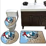 Superhero Bath mat Set with Toilet Cover Old School Comic Book Hero and Villain on The Rocks Punching Kicking Cartoon Toilet Carpet Floor mat Set Multicolor