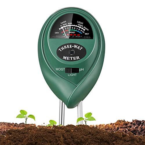 Jellas Soil Test Kit - 3 in 1 Soil pH Meter Tester Plant Moisture Sensor Meter/Light / pH Tester for Home, Garden, Lawn, Farm Promote Plants Healthy Growth - Green