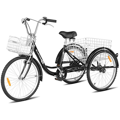 Goplus Adult Tricycle Trike Cruise Bike Three-Wheeled Bicycle w/Large Size Basket for Recreation, Shopping, Exercise Men's Women's Bike (Black, 26' Wheel)