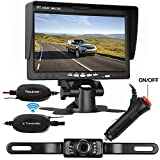 """LeeKooLuu Wireless Backup Camera System for Car/SUV/Van/Pickup/RV/Trailer 7"""" LCD Monitor Rear/Side/Front View System IP68 Waterproof Night Vision Guide Lines ON/Off"""