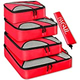 BAGAIL 4 Set Packing Cubes,Travel Luggage Packing Organizers with Laundry Bag Red