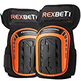 Knee Pads for Work, Construction Gel Knee Pads Tools by REXBETI, Heavy Duty Comfortable Anti-slip Foam Knee Pads for Cleaning Flooring and Garden, Strong Stretchable Straps, 1 Pair (Orange)