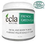 French Green Clay Face Mask Powder - Ecocert Certified Organic from France - 100% Pure Facial treatment for Acne, Oily skin, Spa Grade Natural Mud Mask, Natural Deep Pore Cleansing (8 Oz)