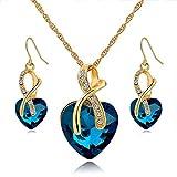 Long Way Austrian Crystal Fashion Heart Jewelry Sets Necklace Earrings Wedding