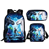 How to Train Your Dragon Pattern Backpack,Set 3 Pieces School Bookbag Lunchbox Pencil Bag