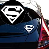 """Yoonek Graphics Superman Decal Sticker for Car Window, Laptop and More. # 805 (4"""" x 5.1"""", White)"""