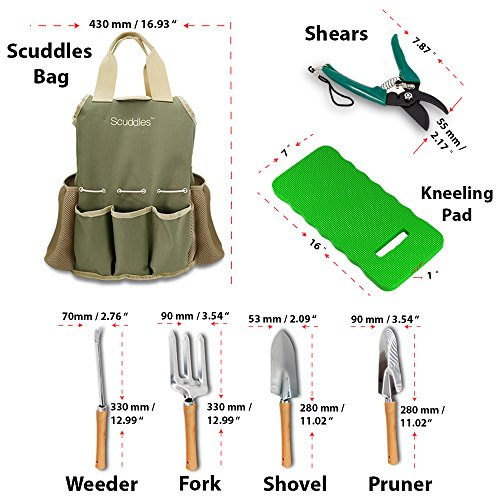 Scuddles-UPGRADED-Garden-Tool-Set-Gardening-Bag-Accessories-KIt-BONUS-Kneeler-Pad-9-Stainless-steel-Hand-Digging-Tools-Pruner-Shovel-Fork-Rake-Shears-Weeder-Gloves-Water-Sprayer-SCGB03