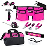 My First Tool Set - PINK by DIY Jr. - Real Tool Set for Kids Pink Tools for Girls Toolbelt Child-sized Tools Complete Tool Set for Girls Tools for Small Hands