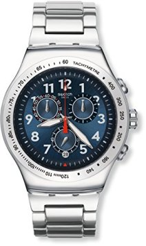 Swatch Unisex Chronograph Quartz Watch with Stainless Steel Bracelet - YOS455G