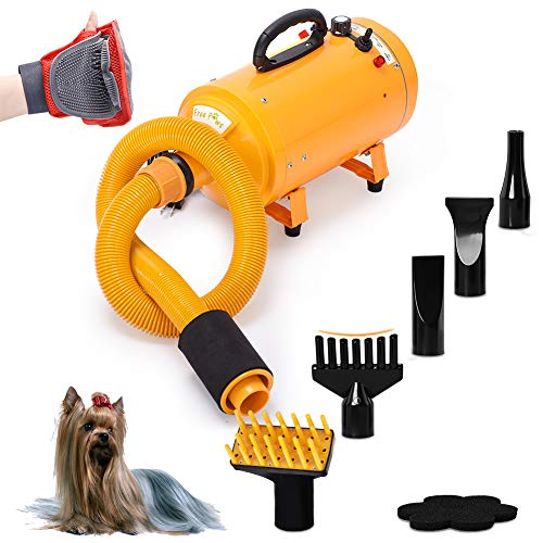 4HP Stepless Adjustable Speed and 2 Differerent Heat Pet Grooming Hair Dryer w/...