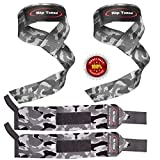 Lifting Straps + Wrist Wraps Bundle (1 PAIR of Each) by Rip TonedBonus Ebook for Weightlifting, Xfit, Workout, Gym, Powerlifting, Bodybuilding - Lifetime Replacement Warranty! (Gray Camo)