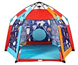 UTEX Automatic Instant 6 Kids Play Tent for Indoor/ Outdoor Fun,Kids Beach Tent Sun Shelter with Zippered Mesh Front, Camping Playhouse Indoor Playground, 66' x 66' x 44'(Sea Cabana)