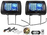 "Rockville RDP931-BK 9"" Black Car DVD/USB/HDMI Headrest Monitors+Video Games"