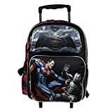 NEW DC Batman v Superman Movie Large 16 Back to School Black Rolling Backpack-Black