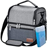 Insulated Lunch Bag, STNTUS Leakproof Cooler Lunch Box with Ice Pack and Strap, Dual Compartment Meal Prep Lunch Tote for Men Women, Washable Outdoor Adult Cooling Food Organizer