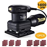 Sheet Sander, TECCPO 1.8 Amp 1/4' 14,000 OPM Sheet Orbital Sander & 12Pcs Sandpapers, Recyclable Dust Bag and Powerful Fine Copper Motor for Removing Paint, Polishing, Sanding Wood - TASS23P
