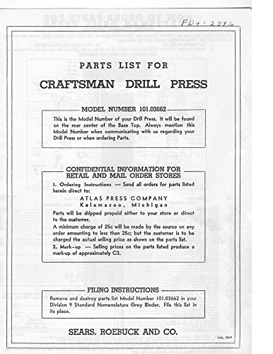 "1941 Atlas 101.03662 Craftsman 15"" Drill Press-Parts List Instructions [Plast..."