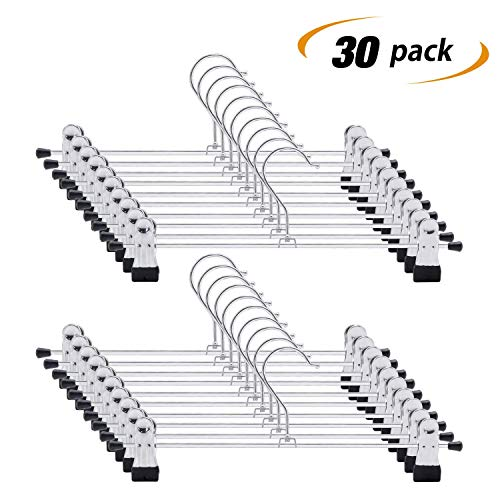 IEOKE Pant Hangers, Skirt Hangers with Clips Metal Trouser Clip Hangers for Heavy Duty Ultra Thin Space Saving (30pack)