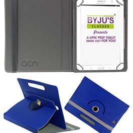ACM Rotating Leather Flip case/Folio case For Byju Learning Tab 10 Inch Tablet Cover Stand Dark Blue