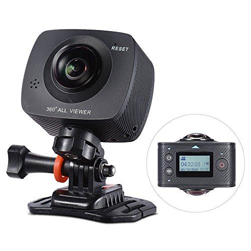 Andoer Dual-lens 360 Degree Panoramic Camera Digital Video Sports Action VR Camera 1920 960P 30fps HD 8MP with 220 Degree Fish Eyes Lens