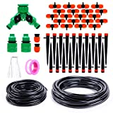 Ohuhu DIY Drip Irrigation Kit Plant Watering System, 1/2' & 1/4' Heavy Duty Tube 33 FT Each, 2 Different Drip Irrigation Emitters Drippers, Water-Saving System for Garden, Pot Plants, Flower Beds