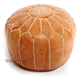Product review for Stuffed Moroccan Tan Leather Pouf, Handmade Pouffe, Leather Ottoman Hassock, Tuffet, Foot Stool