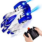 Rainbrace Remote Control Car, Gravity Defying RC Cars 360° Rotating RC Wall Climbing Car for Kids Boy Girl, Birthday Gift, Wall Climbing Car Toys / USB Fast RC Car Charger - Blue