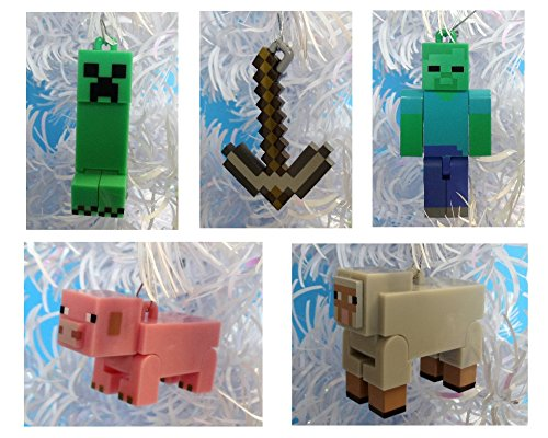 Minecraft Christmas Ornaments Featuring 5 Minecraft Ornaments with Pig, Sheep, Pickaxe, Zombie and Creeper, Ornaments Average 2 1/4 to 3 Inches Tall, Great for a Mini Christmas Tree