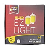 Ohr Candles E-Z Light 44 Jelled Olive Oil Chanukah Candles Jelled Prefilled Olive Oil Medium Size 2.5 Hour Burntime