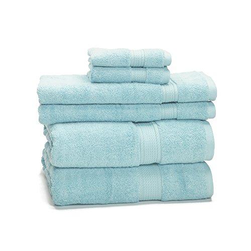 eLuxurySupply 900 Gram 6-Piece Egyptian Cotton Towel Set - Heavy Weight & Absorbent, Seafoam