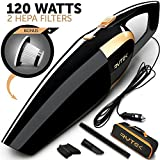 Rytek Car Vacuum Cleaner High Power 120W - Corded Portable Handheld Auto Vacuum Cleaner Powered by 12V Outlet of Car - Long Power Cord 16.4FT(5M) - 2 HEPA Filters - Carrying Bag - Black