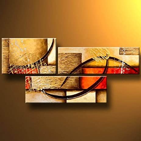 3 Pics Modern Abstract 100 Hand Painted Oil Paintings Artwork On Canvas Wall Art Deco