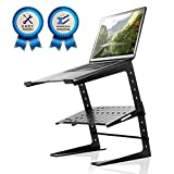 Pyle Portable Adjustable Laptop Stand - 6.3 to 10.9 Inch Standing Table Monitor or Computer Desk Workstation Riser with Shelf Storage and Height Alignment for DJ, PC, Gaming, Home or Office - PLPTS26
