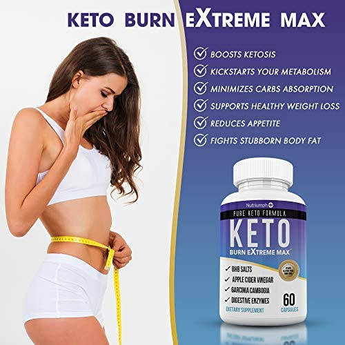 Keto Burn Extreme Max Fat Burner Diet Pills- Ketogenic Weight Loss for Women and Men- Ketosis Supplement with BHB Salts & Apple Cider Vinegar- 30 Day Supply 7