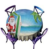 Round Outdoor Tablecloth,Christmas Santa Claus with Trunks on The Beach and Surfboard Sunny Hot Christmas Theme,High-end Durable Creative Home,47 INCH,Blue Green