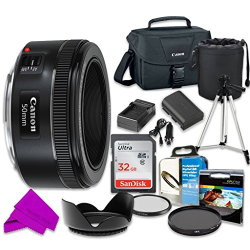 Professional Accessory Kit with Canon EF 50mm f/1.8 STM Lens & SanDisk 32GB Class 10 Memory + Canon 100ES Shoulder Bag for Canon EOS 7D Mark II, 60D, 70D, 80D, 6D, 5D Mark III Digital SLR Cameras