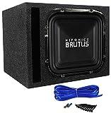 Hifonics BRZ12SQD4 12' 1200 Watt Square Car Subwoofer + Sub Enclosure Box