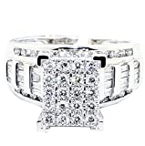 Midwest Jewellery 1cttw Diamond Wedding Ring 3 in 1 Style Engagement & Bands White Gold