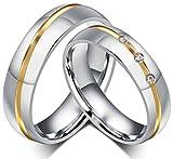 AnaZoz Stainless Steel Couple Ring Two Tone CZ Cubic Zirconia Promise Engagement Wedding Band Size 8