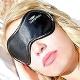 Sleeping Eye mask for sleep Men & Women,Black Silk Eye Cover sleep with FREE ear plugs & Adjustable Strap Necessary Sleep Mask in household,travel,flight Lighting Block Preventing Insomnia&Migraines
