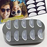 Gms Optical 1.8mm Anti-Slip Adhesive Contoured Soft Silicone Eyeglass Nose Pads with Super Sticky Backing - 5 Pair (Clear)