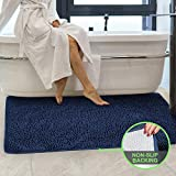 Secura Housewares Bathroom Rugs, Oversize 47' x 28' | Non Slip, Water Absorbent, Machine Washable Bath Mat Carpets | Ultra Soft, Fluffy, Thick Chenille Bath Mats for Doors, Bathroom, Kitchen | Blue