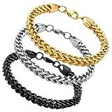 Jusnova Stainless Steel Franco Chain Bracelet for Men Women 6mm Wide 8 Inches 3 Colors Set Black Gold Silver