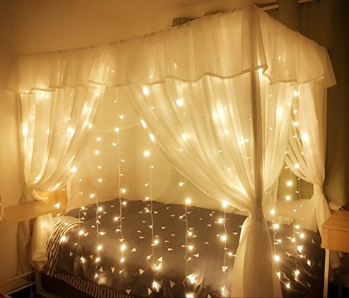 MZD Curtain Icicle Lights X Ft LED Starry Fairy - Icicle lights in bedroom