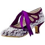 ElegantPark HC1521 Women Mary Jane Mid Heel Satin Pumps Cut-Out Closed Toe Lace Wedding Bridal Shoes Purple US 9