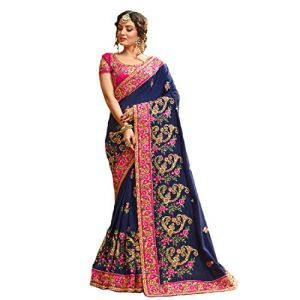Rekishn Women's Georgette Saree With Blouse Piece (3006_Blue)
